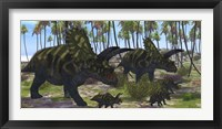 Framed Two mother Coahuilaceratops escort their baby hatchlings