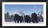 Framed herd of Woolly Mammoths migrate to a warmer climate in the Pleistocene Age