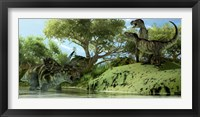 Framed Confrontation between two Tyrannosaurus Rex and a Coahuilaceratops