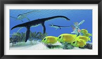 A school of Lemonpeel Angelfish swim by Plesiosaurus dinosaurs Framed Print