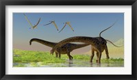 Framed flock of Pterosaur birds fly over two Diplodocus dinosaurs
