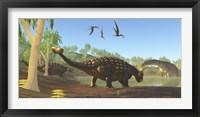 Framed Ankylosaurus dinosaurs drink from a swamp along with an Argentinosaurus