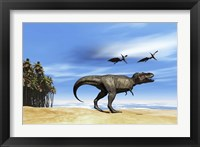Framed Pterodactyls fly over a beastly Tyrannosaurus Rex