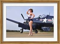Framed 1940's Navy pin-up girl posing with a vintage Corsair aircraft
