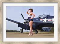 Framed 1940's Navy pin-up girl posing with a vintage Corsair aircraft