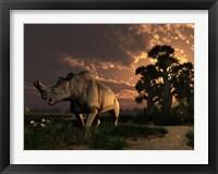 Framed Megacerops grazing a prehistoric landscape