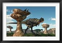 Framed pair of Aucasaurus dinosaurs walk amongst a forest of stone sculptures