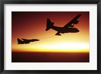 Framed US Navy F-14A Tomcat aerial refueling from a KC-130 Hercules