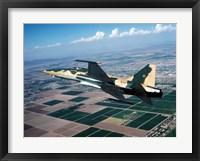 Framed F-5E Tiger II in flight over El Centro, California