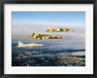 Framed Four F-5 Tiger II's fly above Southern California