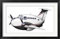 Framed Cartoon illustration of a Beechcraft King Air