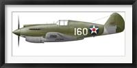 Framed Illustration of a Curtis P-40 Warhawk