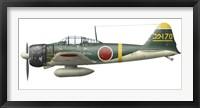 Framed Illustration of a Mitsubishi A6M2 Zero fighter plane
