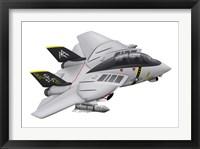 Framed Cartoon illustration of a F-14 Tomcat