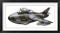 Framed Cartoon illustration of a Royal Air Force Hawker Hunter F6
