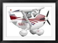 Framed Cartoon illustration of a Cessna 182 aeroplane