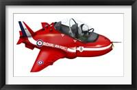 Framed Cartoon illustration of a Royal Air Force Red Arrows Hawk airplane