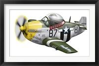 Framed Cartoon illustration of a P-51 Mustang