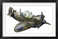 Framed Cartoon illustration of a Royal Air Force Supermarine Spitfire