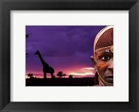 Framed Maasai Warrior with Sunset on the Serengeti, Kenya