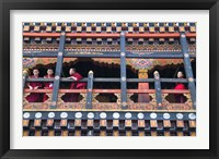 Framed Monks in the Kichu Lhakhang Dzong, Paro, Bhutan