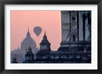 Framed Hot Air balloon over the temple complex of Pagan at dawn, Burma