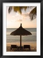 Framed Mauritius, Beach scene, umbrella, chairs, palm fronds