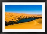 Framed Libya, Fezzan, desert Erg Ubari, Umm el Maa lake