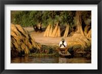 Framed Local Man Fishing and Piles of Straw for Hatch, Okavango Delta, Botswana