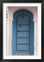 Framed Moorish-styled Blue Door and Whitewashed Home, Morocco