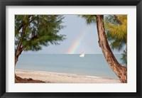 Framed Madagascar, Mahajunga. Fishing dhow and rainbow