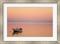 Framed Pink sunrise with small boat in the ocean, Ifaty, Tulear, Madagascar