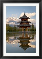 Framed Pagoda in pond, Valley of Jade Dragon Snow Mountain