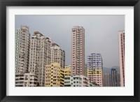 Framed New Territories high-rise apartments, Hong Kong, China