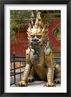 Framed Qing-era guardian lion, Forbidden City, Beijing, China