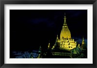 Framed Night View of Ananda Pahto, Myanmar