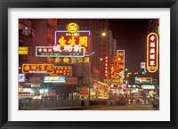 Framed Neon Lights at Night, Nathan Road, Hong Kong, China