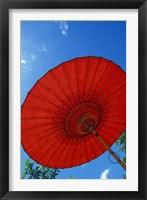 Framed Red Umbrella With Blue Sky, Myanmar