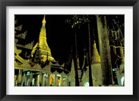 Framed Night View of Illuminated Shwedagon, Myanmar