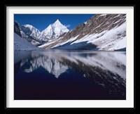 Framed Mount Jichu Drake in Sophu lake, Jigme Dorji NP, Bhutan