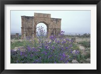 Framed Ruins of Triumphal Arch in Ancient Roman city, Morocco