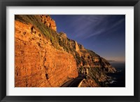 Framed South Africa, Cape Peninsula. Chapmans peak drive cliffs