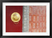 Framed Temple wall and brass door accent. Great Wall of China, Tianjin, China