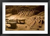 Framed Terra cotta animals, eunuchs, Han Dynasty, Xian, China