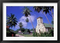 Framed St Mary's Church and Palm Trees, Seychelles