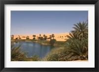 Framed Umm El Ma Lake, Erg Awbari, Sahara Desert, Fezzan, Libya