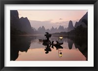 Framed Traditional Chinese Fisherman with Cormorants, Li River, Guilin, China