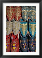 Framed Traditionally Embroidered Babouches, Morocco
