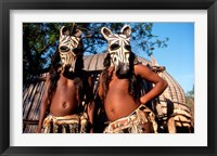 Framed Zulu Zebra Masked Dancers, South Africa