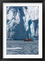 Framed Zodiac with iceberg in the ocean, Antarctica